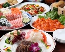 新鮮な刺身と本格中華料理のコース 飲み放題付で5000円