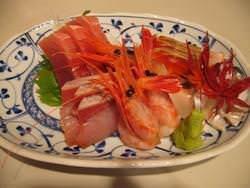 北海道の旬の味覚。 お刺身5点盛り合わせ。