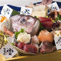 豪快に大漁盛りや、食べきりサイズの小舟盛りでご提供!