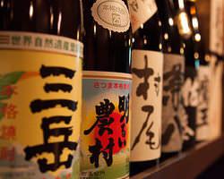 全国から取り寄せた、焼酎、日本酒を種類豊富にご用意してます