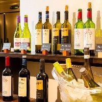 通常飲み放題に+500円(税込)にてワインビュッフェも楽しめます