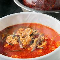 料理長自信の「タテギ」で作ったユッケジャンスープは絶品です!