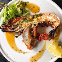 豊富な炭焼きイタリアン料理 写真は特大オマール海老焼き