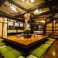 国内外の観光客様に好評の「いろり席」。古き良き日本の食卓へ…