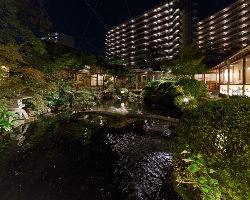 夜の庭園はライトアップされ、昼とはまた違った美しさです。