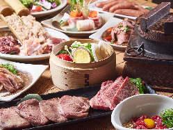 ■溶岩石焼いろいろ■厚切り牛たん/黒毛和牛/野菜の蒸籠蒸など