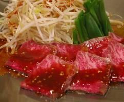味鉄オリジナルたれ焼肉。お肉とお野菜に、秘伝のたれで焼く。