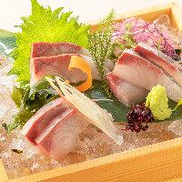 とりあえずならまずはこちらから。旬の鮮魚を盛り合わせました。