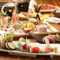 各種陶板焼きが楽しめる宴会コースは2h飲放題付で4,000円から!