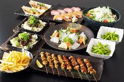 2時間飲み放題付全8品3,500円!お造りや串焼き、寿司も楽しめる