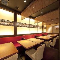 明るく華やかな空間。テーブル半個室でご宴会(16名様まで)