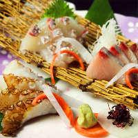 毎朝市場から直送の新鮮な魚や野菜を使用!旬の味わいを堪能