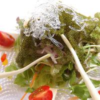 新鮮野菜・島らっきょ・海ぶどう・島豆腐の健康サラダ