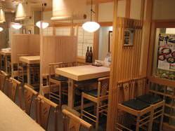 総檜造りのテーブル・個室風お座敷でごゆっくりおくつろぎください