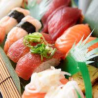 +500円で黒門市場の「にぎり寿司盛り合せ」がご注文可能です