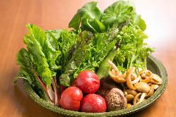旬のお野菜はみずみずしい季節の物を中心にお出ししております。