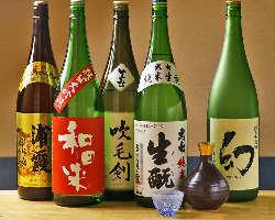 魚と相性抜群の日本酒も豊富にご用意!オリジナル日本酒も有り。