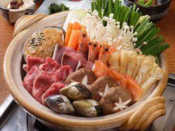 ちゃんこ鍋コースは、オリジナルスパイス、or塩味で3500円