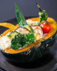 【看板メニュー】 新鮮野菜がゴロゴロのかぼちゃグラタン!