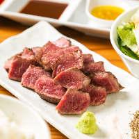 極上肉は自家製ネギ塩ダレや味噌ダレでご堪能!