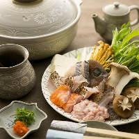 〈お鍋〉 白子や脂ののった白身魚が楽しめるちり鍋