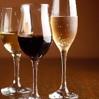 【ワイン】 シェフ厳選の赤、白、泡を1杯ずつ楽しめるセットも