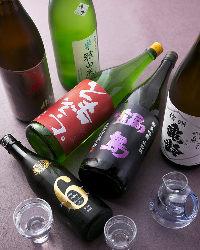 日本酒の品揃えにも自信があります。珍しい銘柄がズラリ!