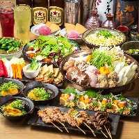 自慢の鶏料理や旬の逸品を満喫!飲み放題付宴会コース4,000円~