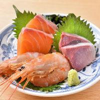 【旬の魚を味わう】 獲れたての海の幸を3種お造りにしました