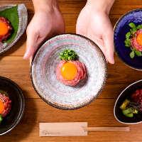 近江牛100%の贅沢ユッケ。様々なアレンジで18種ご用意。