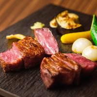大和牛のステーキと地元の自然栽培野菜を鉄板焼きで堪能する