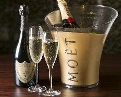 高級シャンパンもご用意可能!記念日やお祝いに◎