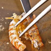 旬の魚介、車海老、帆立貝柱の鉄板焼を楽しめるシーフードコース