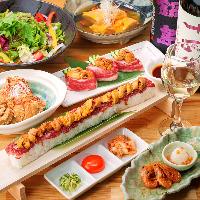 人気のロングユッケ寿司付きコース!飲み放題付き 3981円!