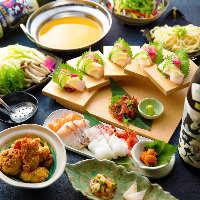 新鮮なお造りと焼き魚や 煮魚など全国の日本酒に 合わせて…