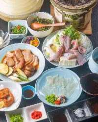 新鮮なふぐの宴会コースは 5,000円(税抜)~ご用意しています