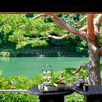 嵐山とその前を流れる保津川の景色を一望