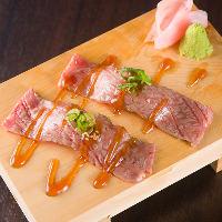 【和牛ロース炙り寿司】 自家製の甘ダレとわさびの相性が抜群