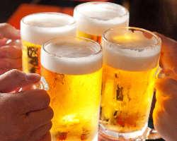 乾杯はもちろんビールで!飲み放題にも含まれております◎