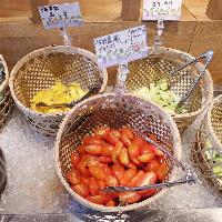 「畑バー」では朝採り生野菜が食べ放題!珍しい野菜も並びます!