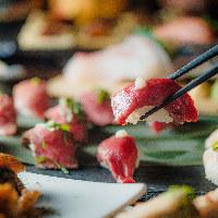 名物和牛寿司!柔らかい肉質とピリッと辛いわさびがたまらない!