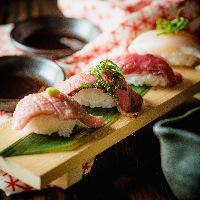 牛の寿司盛り合せ 牛肉だけの盛り合わせメニュー!味勝負!