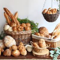 パン工房を備えた店内。自家製焼き立てパンが味わえるブッフェも