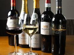 世界各国のワインをお料理に合わせてご提供いたします。