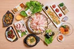 サムギョプサルと韓国料理が付いたコースは大変お得♪