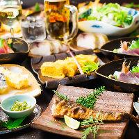 海の幸を存分に満喫できる飲み放題付き宴会コースは5,000円〜