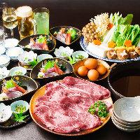 黄身が濃厚な「日本一こだわり卵」で味わう『牛すき焼きコース』