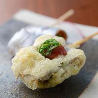 素材串は炙りまたは天ぷらより調理法を選べます♪創作串も自慢!