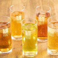 コーン茶やほうじ茶など豊富な種類の無糖茶割を味わってみて。