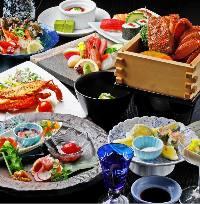 新鮮魚介やお寿司を堪能できるコース。飲み放題付コースも。